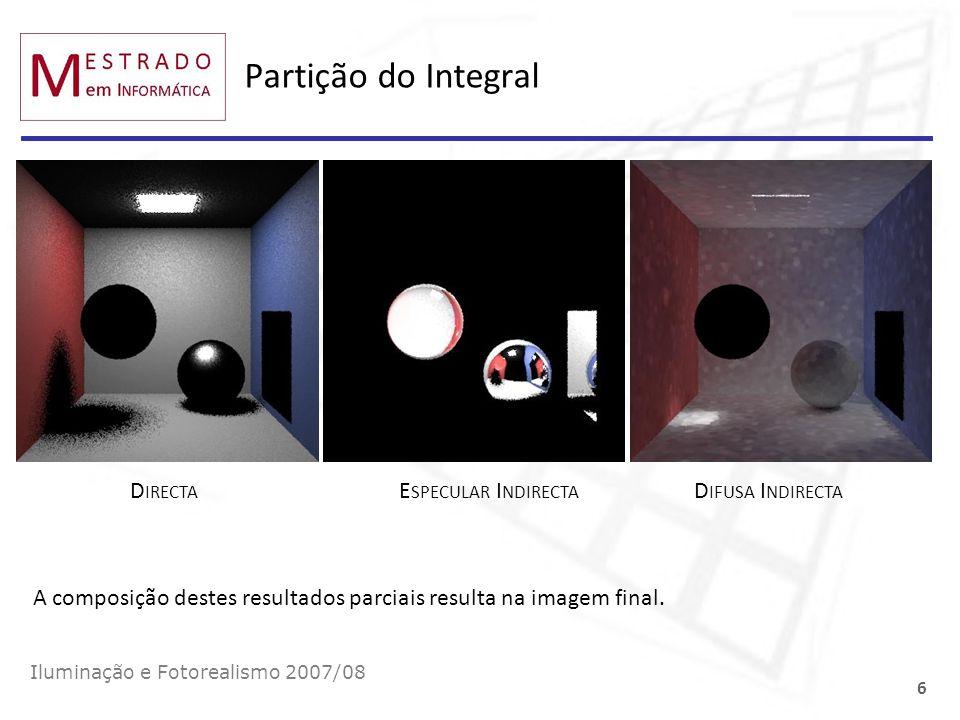 Partição do Integral Directa Especular Indirecta Difusa Indirecta