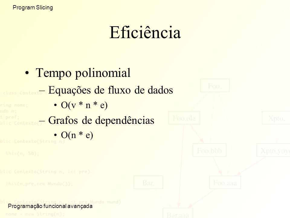 Eficiência Tempo polinomial Equações de fluxo de dados