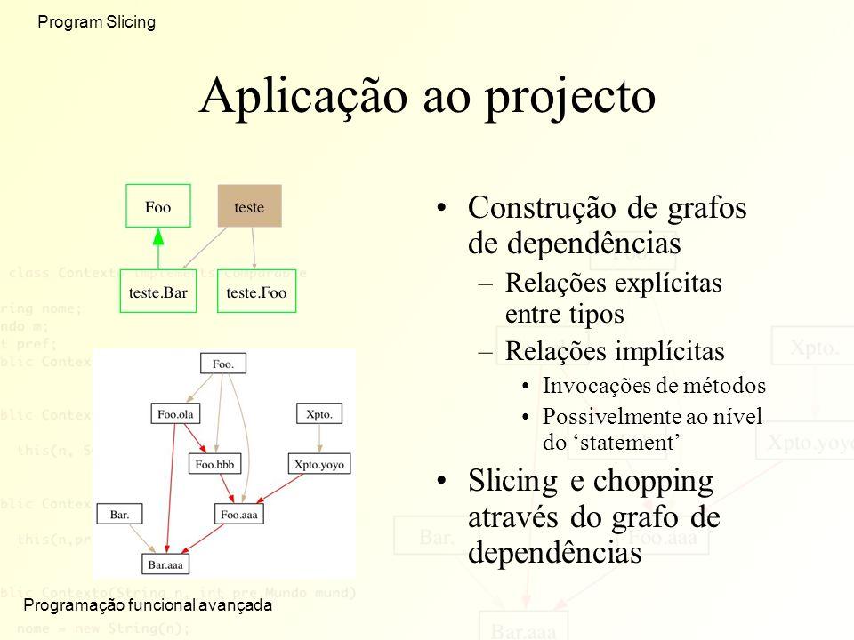 Aplicação ao projecto Construção de grafos de dependências