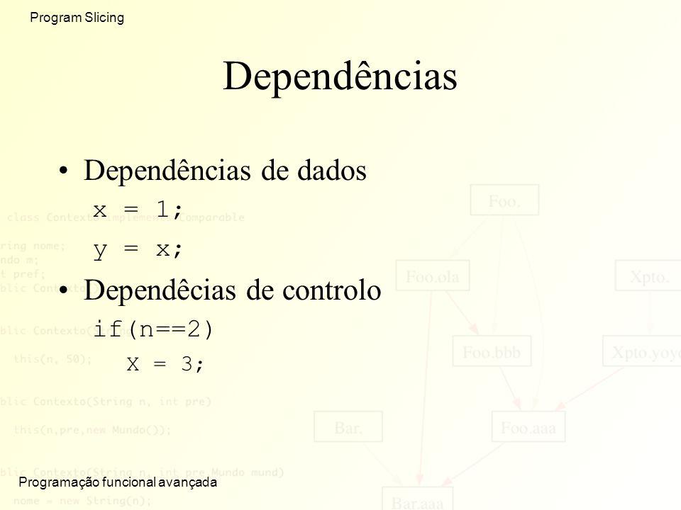 Dependências Dependências de dados Dependêcias de controlo x = 1;