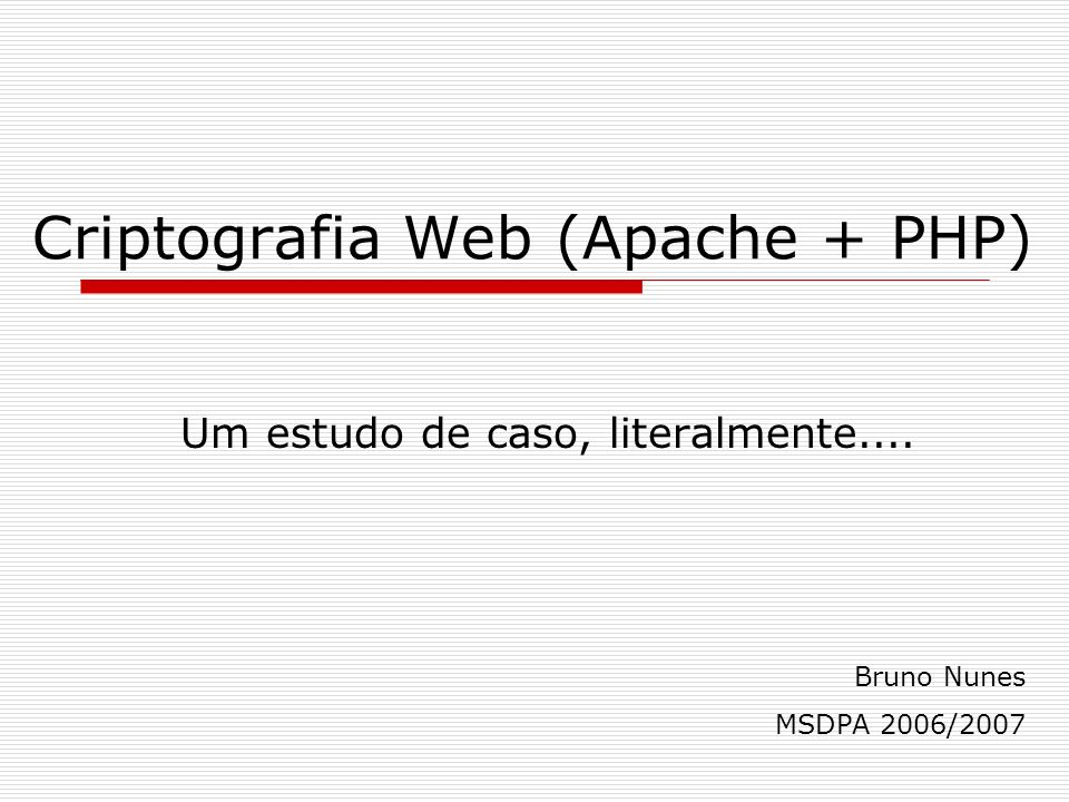 Criptografia Web (Apache + PHP)