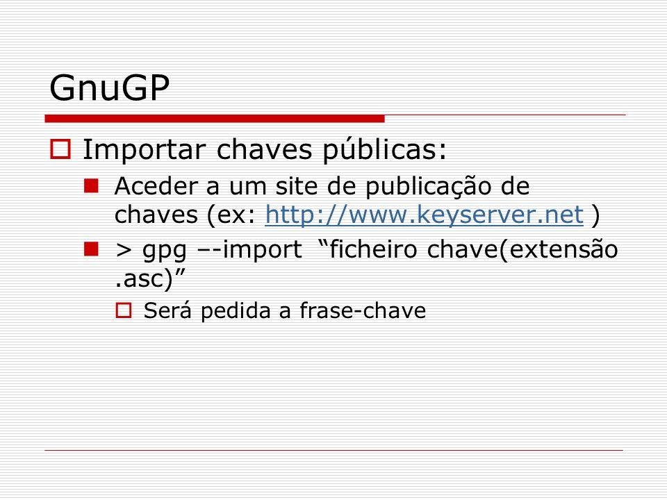 GnuGP Importar chaves públicas:
