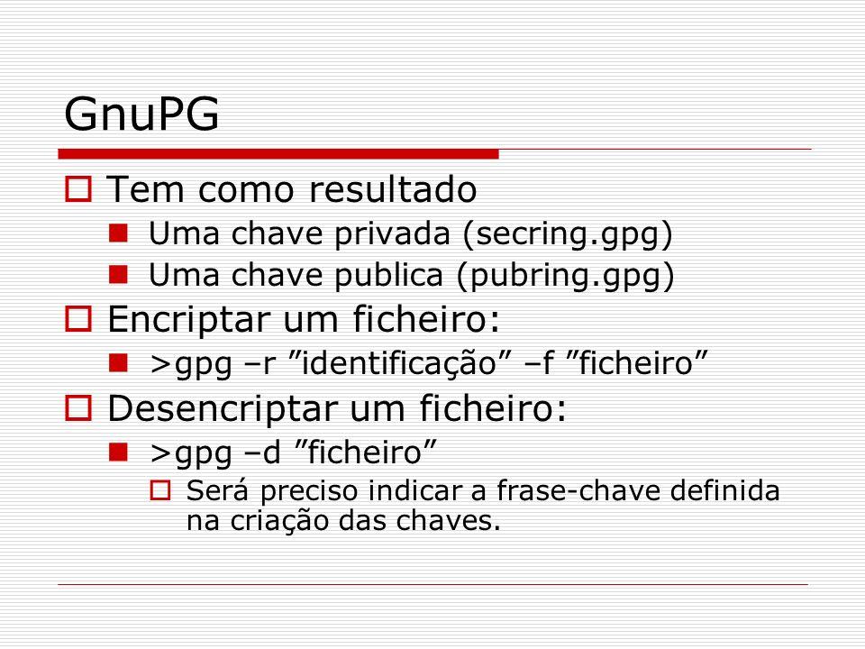 GnuPG Tem como resultado Encriptar um ficheiro:
