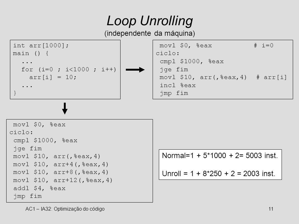 Loop Unrolling (independente da máquina)