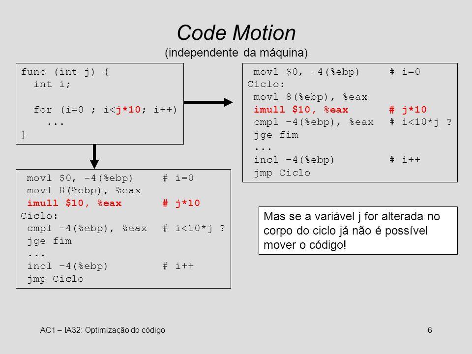 Code Motion (independente da máquina)