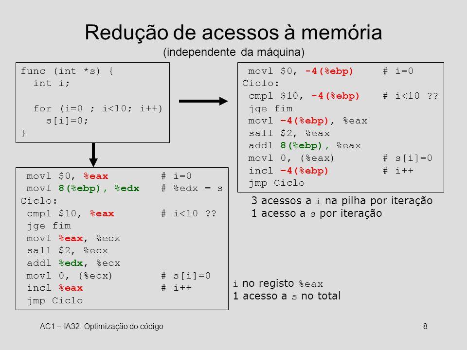 Redução de acessos à memória (independente da máquina)