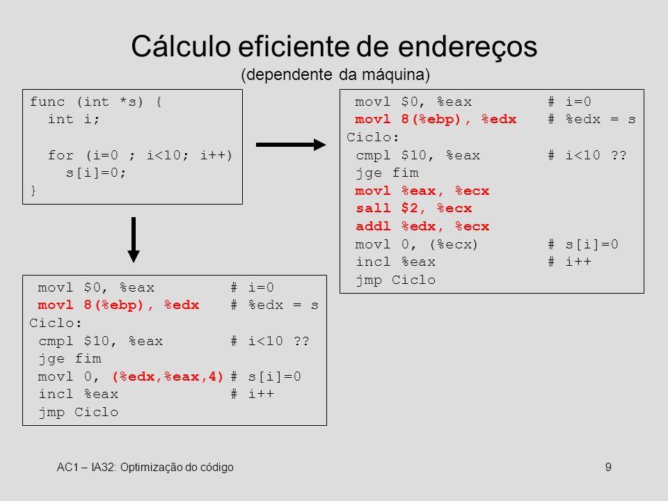 Cálculo eficiente de endereços (dependente da máquina)