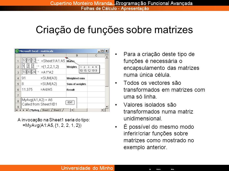Criação de funções sobre matrizes