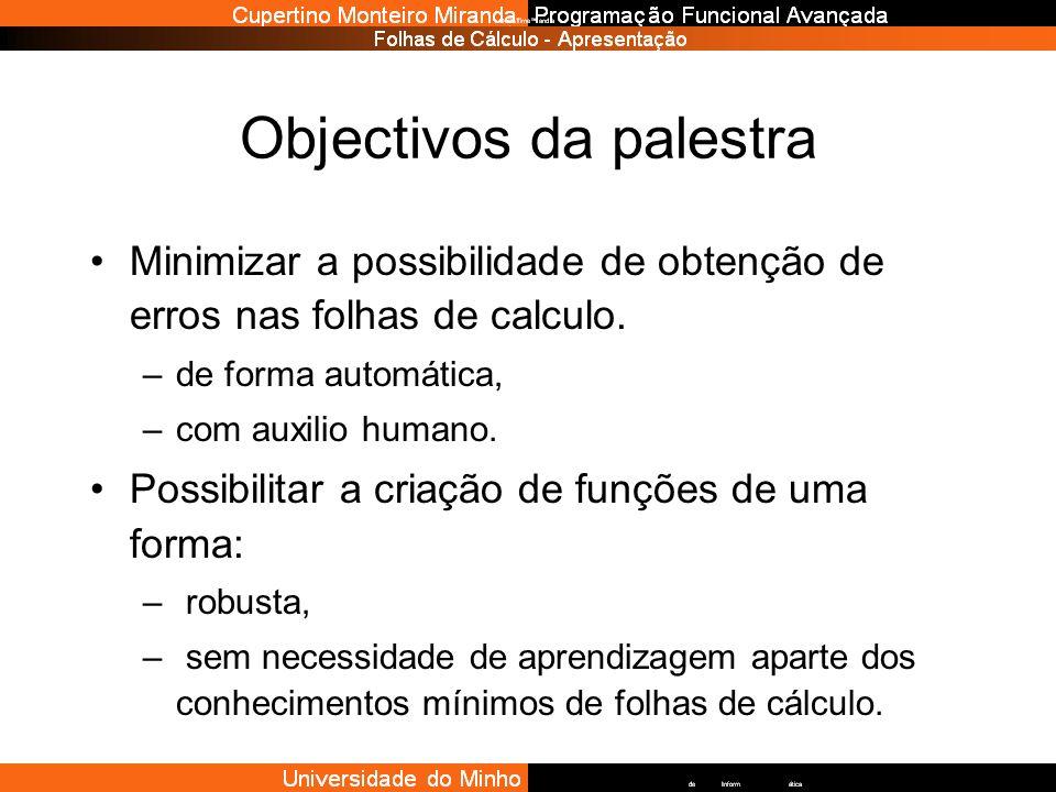 Objectivos da palestra