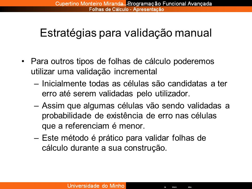 Estratégias para validação manual