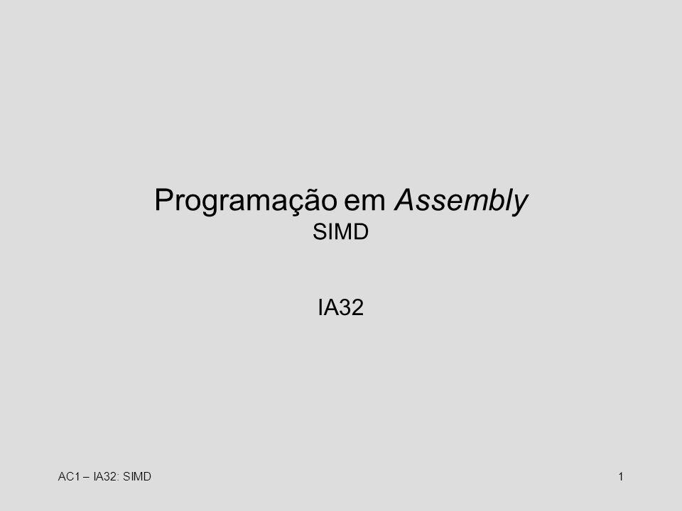 Programação em Assembly SIMD