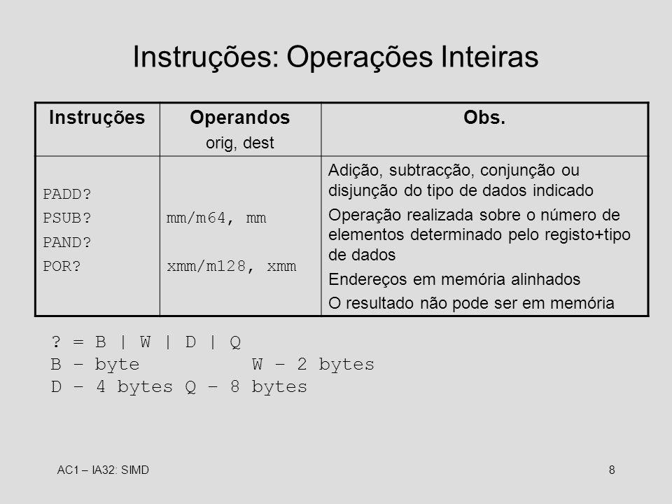 Instruções: Operações Inteiras