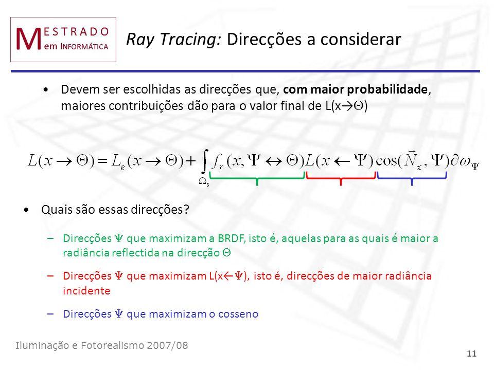 Ray Tracing: Direcções a considerar