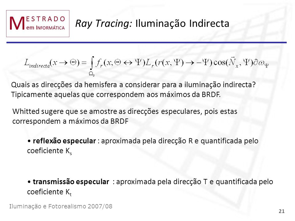 Ray Tracing: Iluminação Indirecta