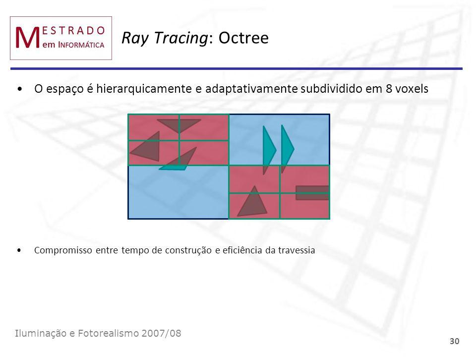 Ray Tracing: Octree O espaço é hierarquicamente e adaptativamente subdividido em 8 voxels.
