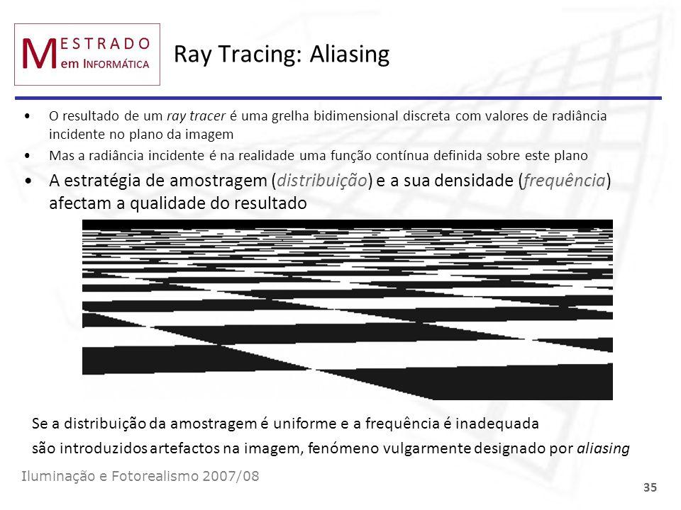 Ray Tracing: AliasingO resultado de um ray tracer é uma grelha bidimensional discreta com valores de radiância incidente no plano da imagem.