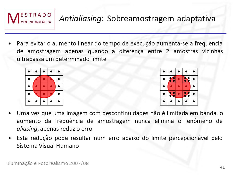 Antialiasing: Sobreamostragem adaptativa