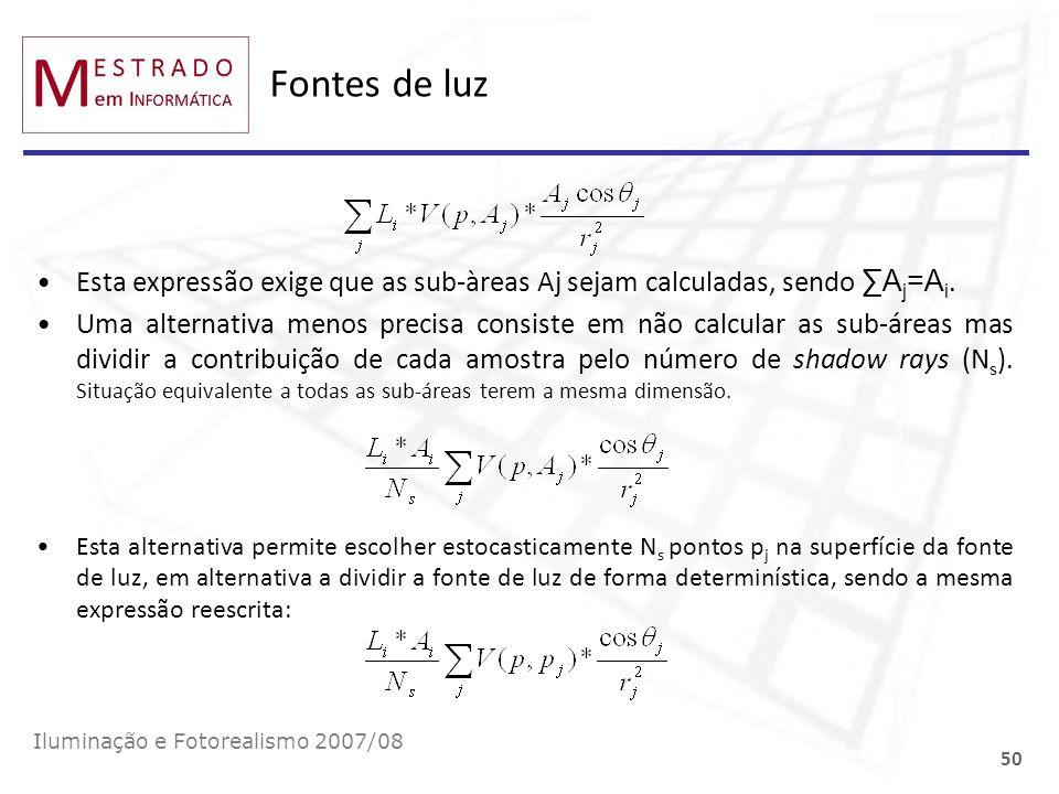 Fontes de luz Esta expressão exige que as sub-àreas Aj sejam calculadas, sendo ∑Aj=Ai.