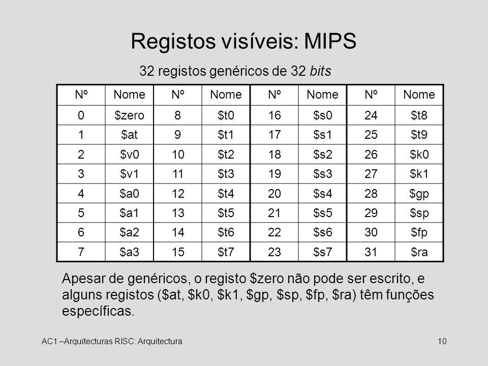 Registos visíveis: MIPS