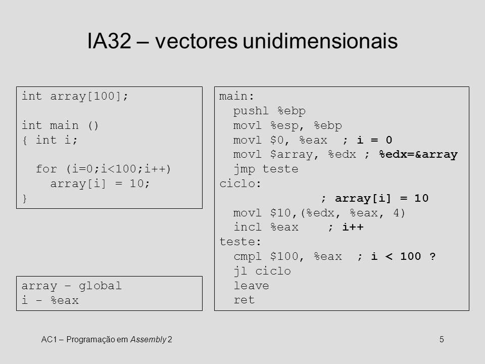 IA32 – vectores unidimensionais