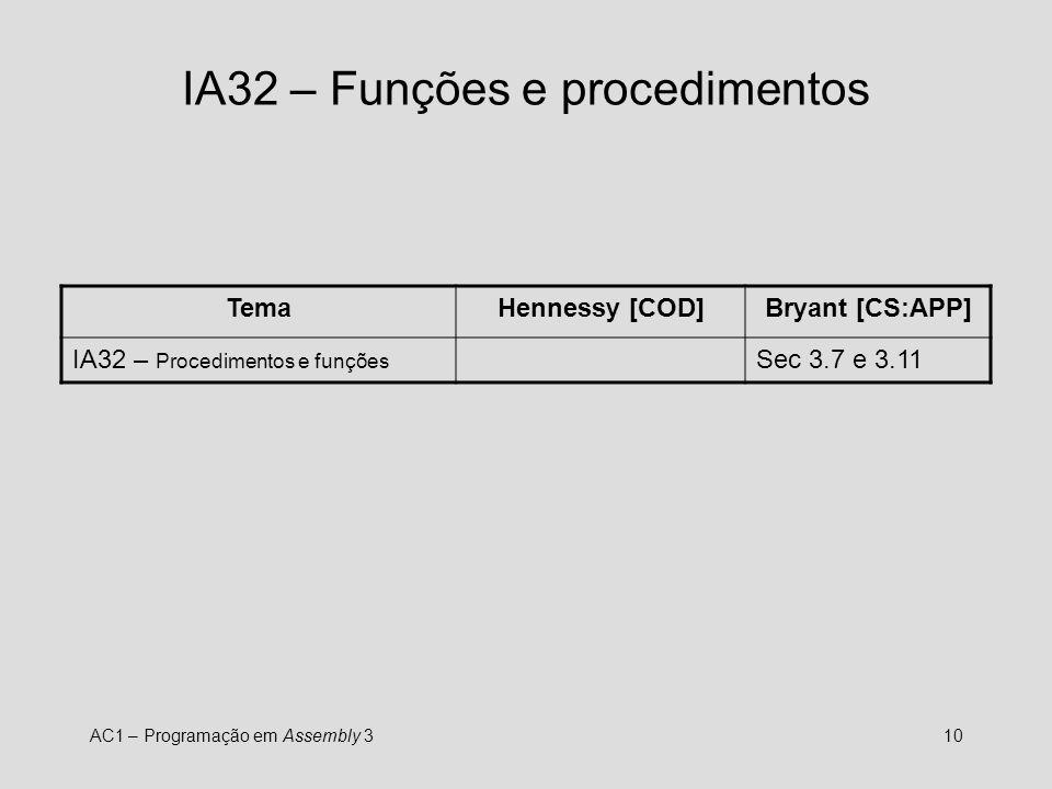 IA32 – Funções e procedimentos