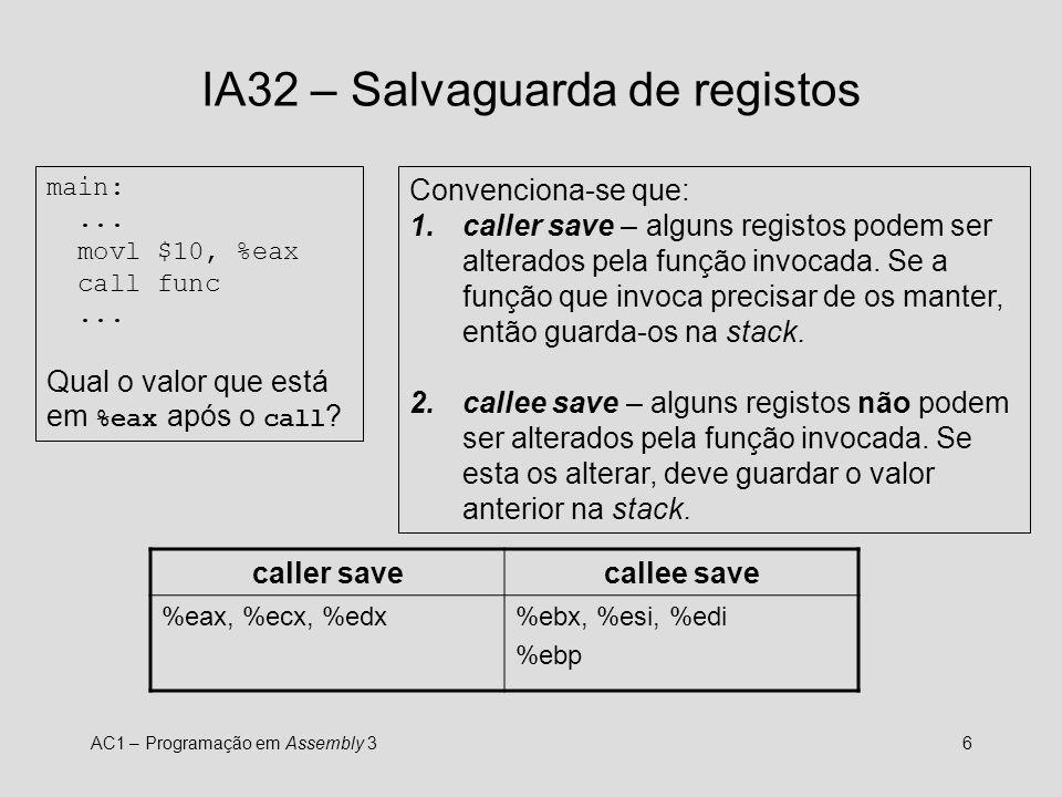 IA32 – Salvaguarda de registos