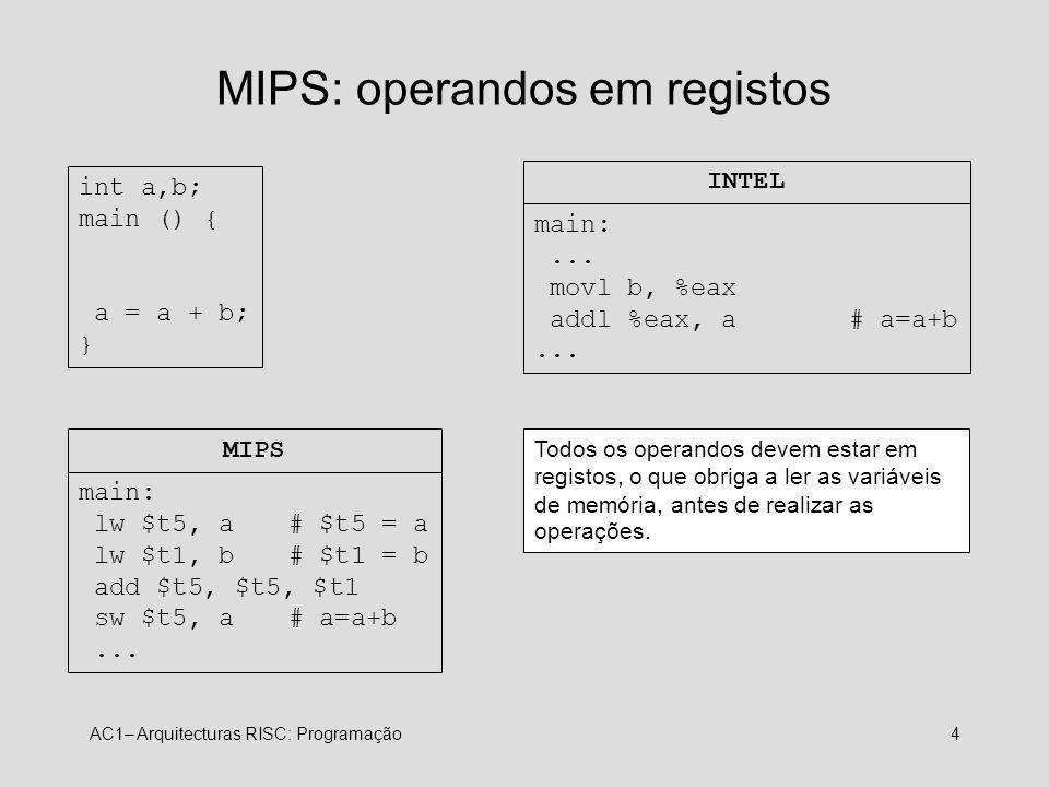 MIPS: operandos em registos