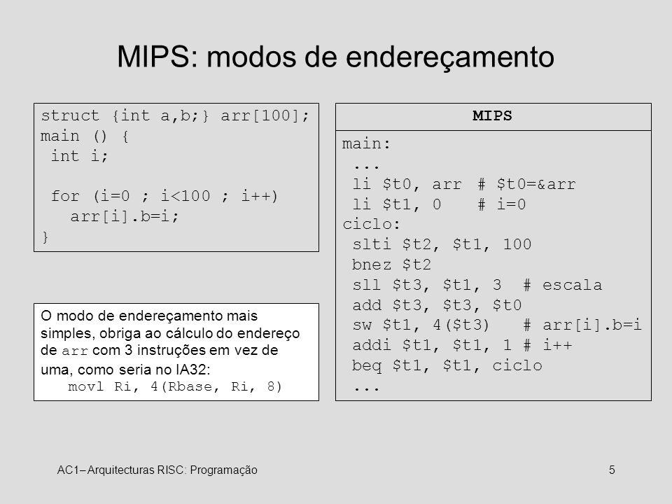 MIPS: modos de endereçamento