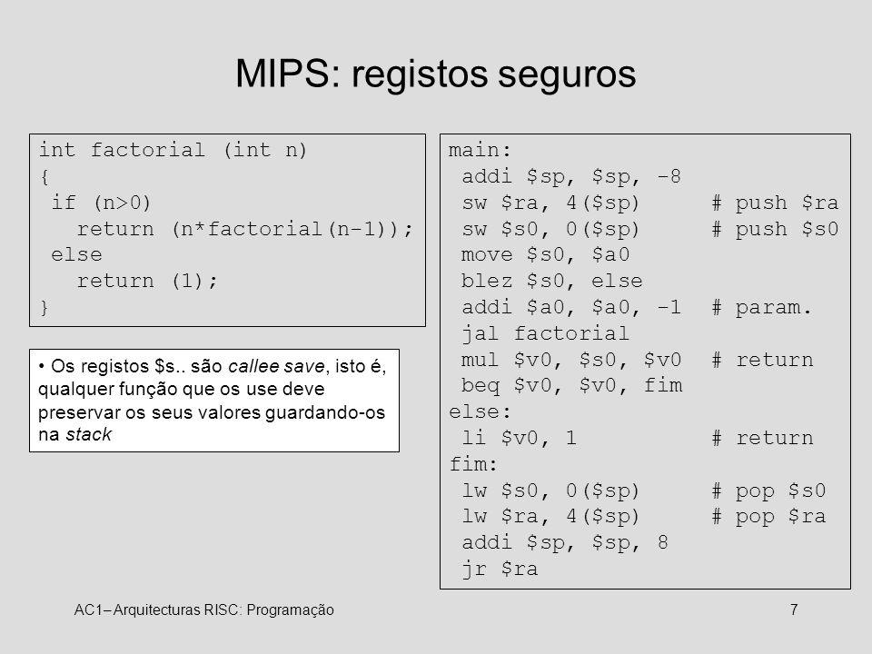 MIPS: registos seguros