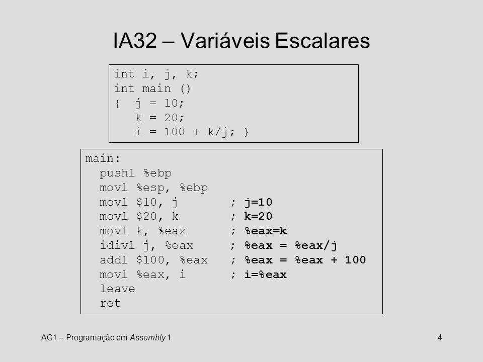 IA32 – Variáveis Escalares
