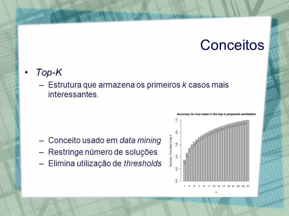 ConceitosTop-K. Estrutura que armazena os primeiros k casos mais interessantes. Conceito usado em data mining.