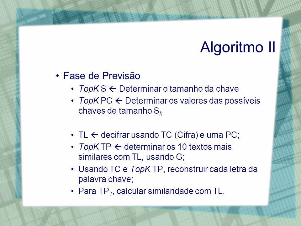 Algoritmo II Fase de Previsão TopK S  Determinar o tamanho da chave
