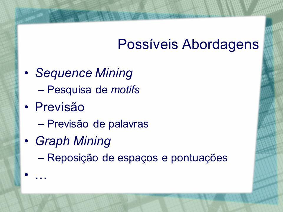 Possíveis Abordagens Sequence Mining Previsão Graph Mining …