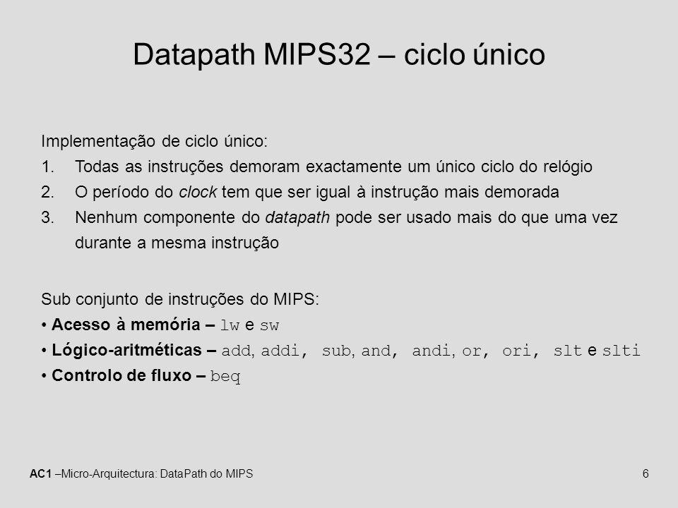 Datapath MIPS32 – ciclo único