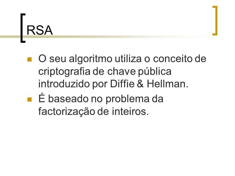 RSA O seu algoritmo utiliza o conceito de criptografia de chave pública introduzido por Diffie & Hellman.
