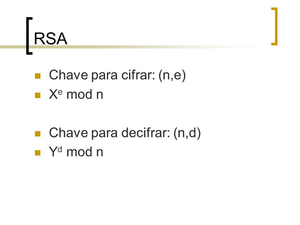 RSA Chave para cifrar: (n,e) Xe mod n Chave para decifrar: (n,d)