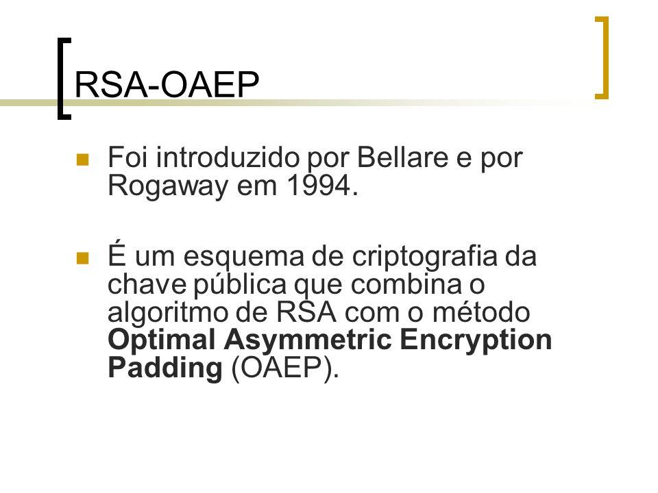 RSA-OAEP Foi introduzido por Bellare e por Rogaway em 1994.