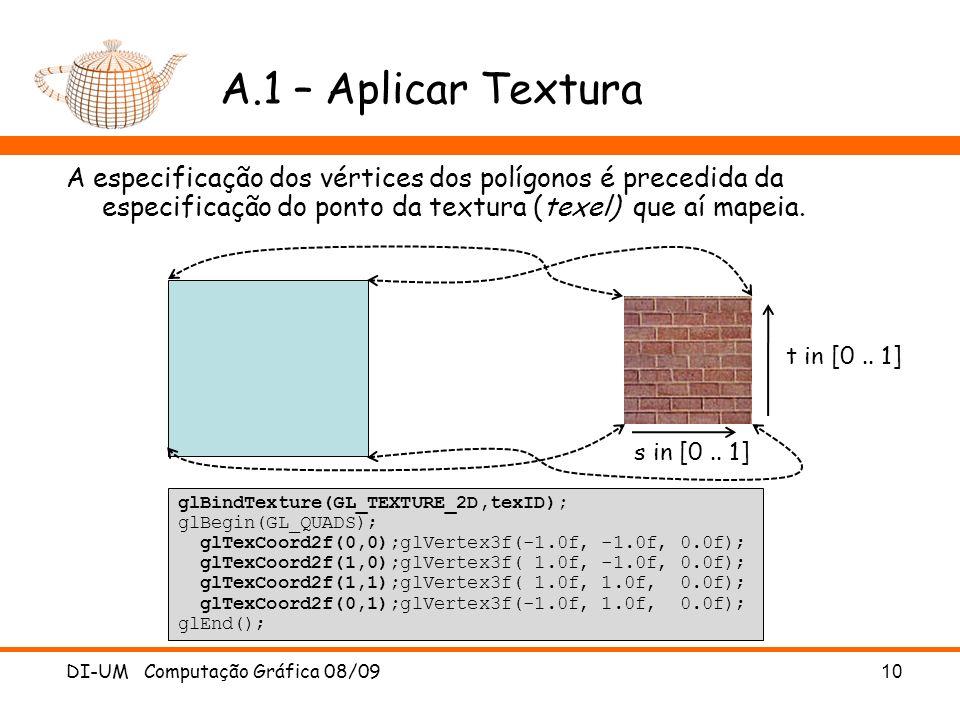 A.1 – Aplicar Textura A especificação dos vértices dos polígonos é precedida da especificação do ponto da textura (texel) que aí mapeia.