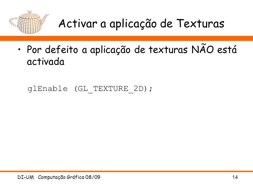 Activar a aplicação de Texturas