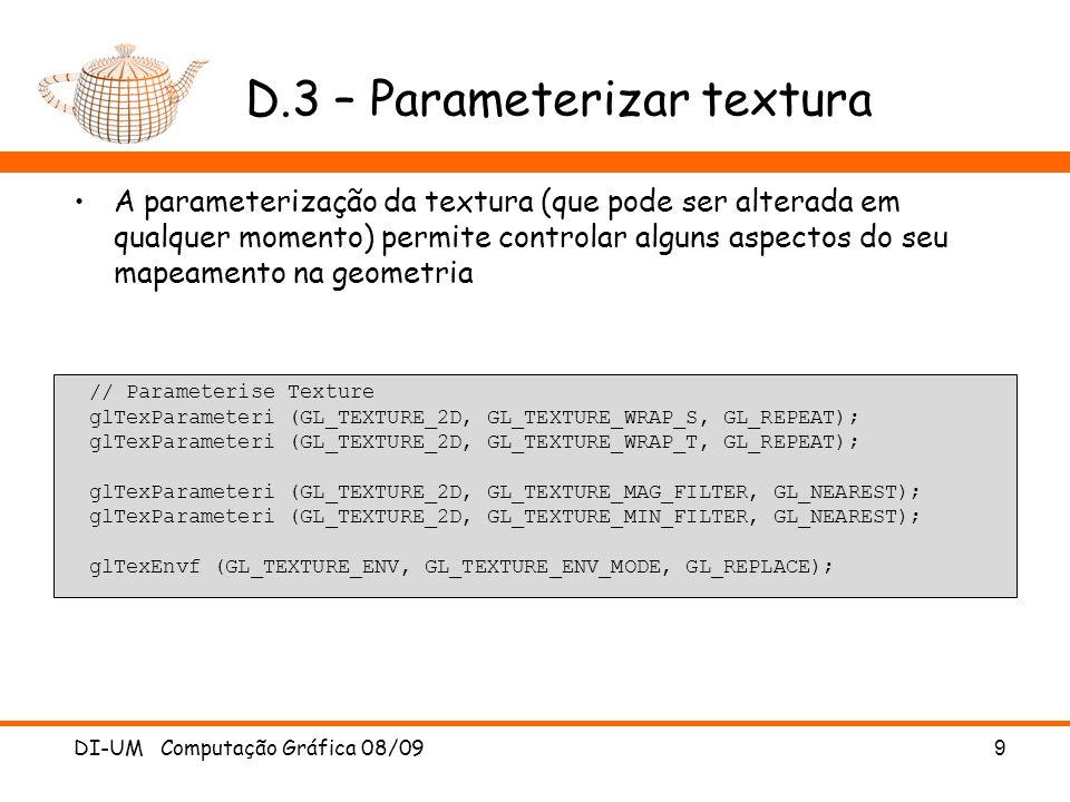 D.3 – Parameterizar textura