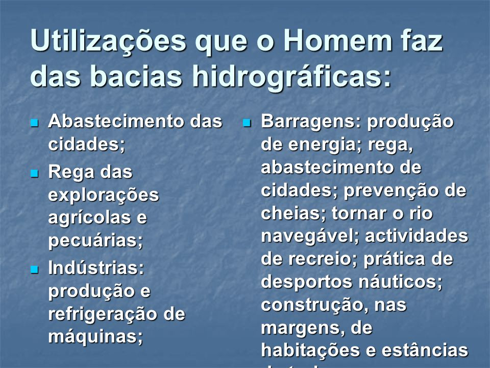 Utilizações que o Homem faz das bacias hidrográficas:
