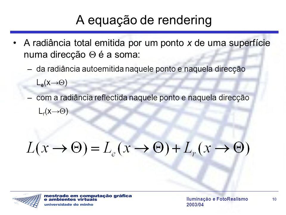 A equação de renderingA radiância total emitida por um ponto x de uma superfície numa direcção  é a soma: