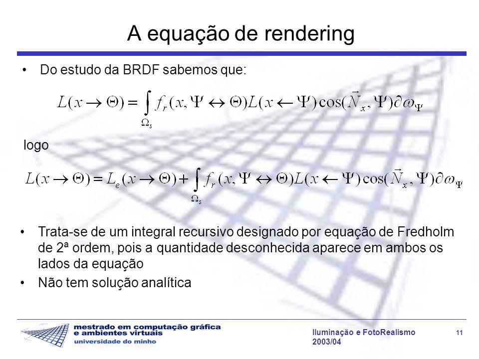A equação de rendering Do estudo da BRDF sabemos que: logo