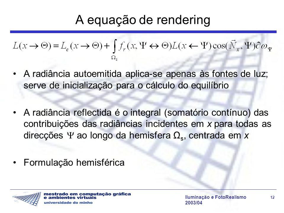 A equação de rendering A radiância autoemitida aplica-se apenas às fontes de luz; serve de inicialização para o cálculo do equilíbrio.