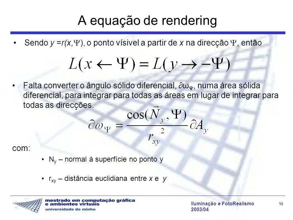A equação de rendering Sendo y =r(x,), o ponto vísivel a partir de x na direcção , então.