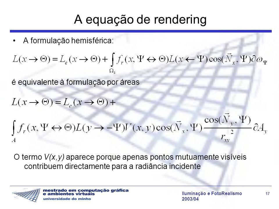 A equação de rendering A formulação hemisférica: