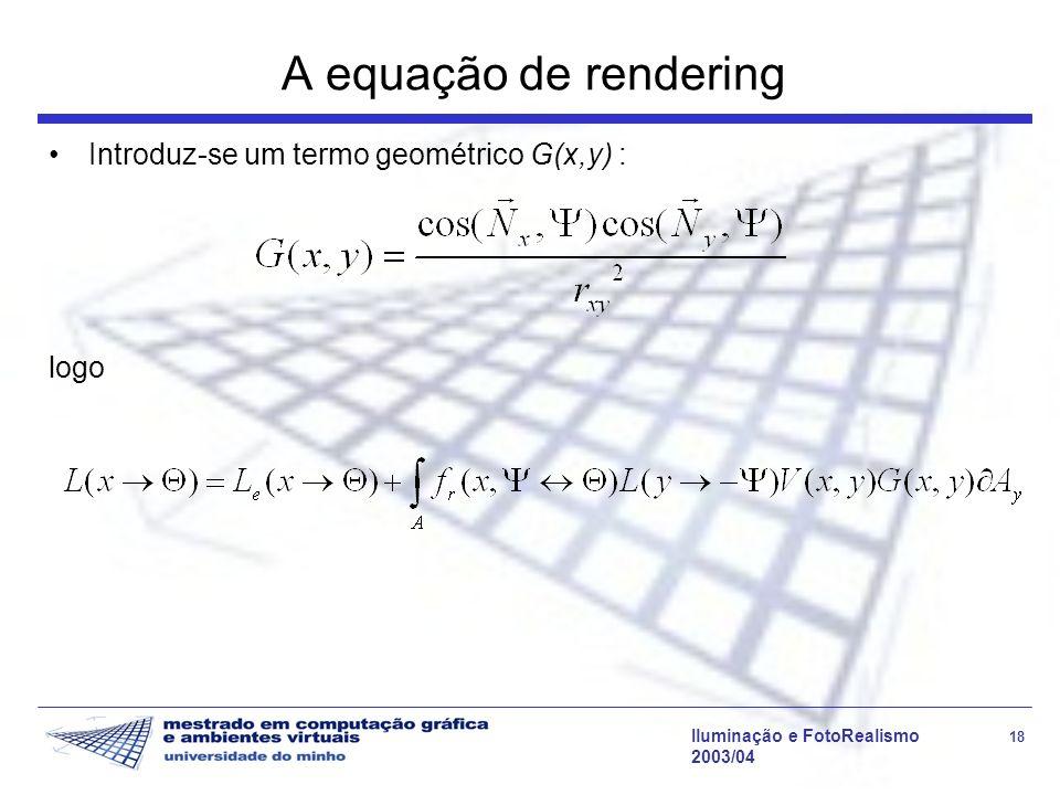 A equação de rendering Introduz-se um termo geométrico G(x,y) : logo