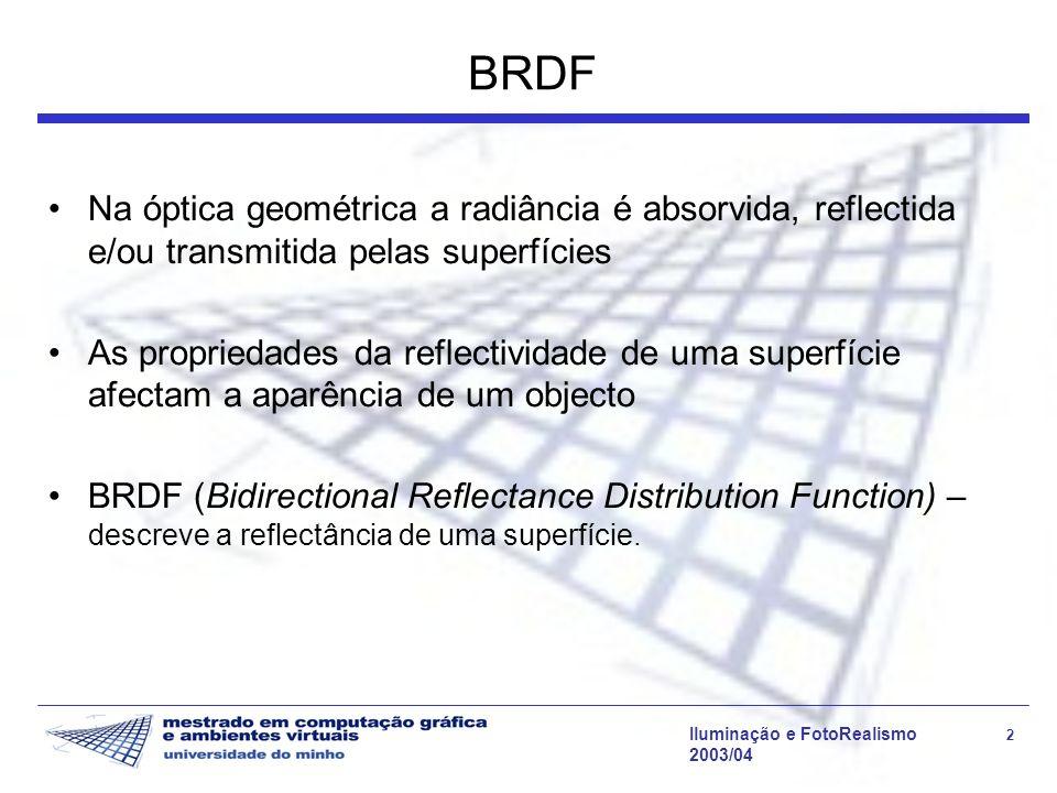 BRDF Na óptica geométrica a radiância é absorvida, reflectida e/ou transmitida pelas superfícies.