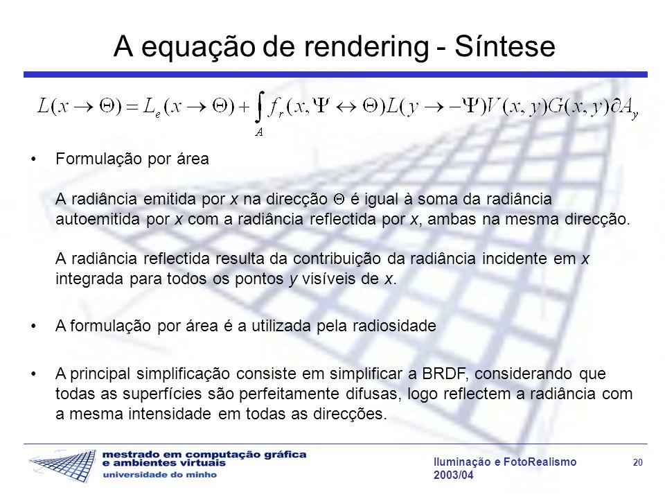 A equação de rendering - Síntese