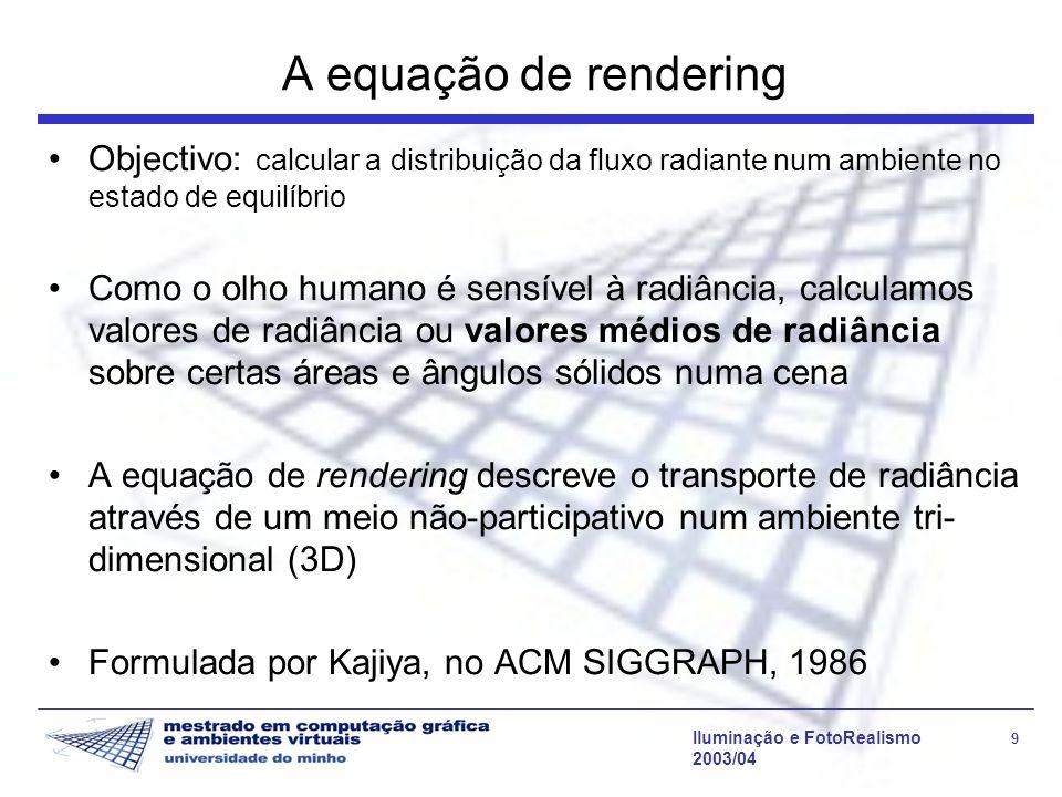 A equação de rendering Objectivo: calcular a distribuição da fluxo radiante num ambiente no estado de equilíbrio.